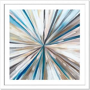"""Casa Fine Arts 现代蓝色抽象档案艺术印刷品 哑光白边框 31"""" x 31"""" 9836-01"""
