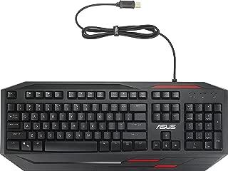 ASUS GK100 发光游戏键盘(有线,可编程,防水,防鬼,德式版)黑色