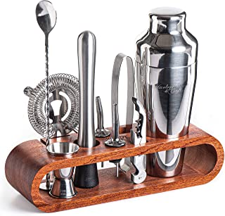 Mixology & Craft 10 件套棒子套装 - 红木 1.Silver - Mahogany measuring margarita heavy design box