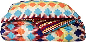 Chic Home 2 Piece Sierra Navajo Southwestern Style Reversible Printed Comforter Set, Twin X-Long, Spice Tones