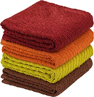 DecorRack 4 件装大号厨房毛巾,* 纯棉,38.1 x 63.5 cm 吸水洗碗布,非常适合厨房,手巾,多种颜色(4 件套)