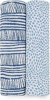 aden + anais 襁褓毯,女孩和男孩精品平纹细布毯,婴儿包巾,理想的新生儿和婴儿襁褓套装,完美的淋浴礼物,2件装 Blue Geo