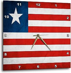 """3dRose dpp_28265_2 Liberia Flag Wall Clock, 13 by 13"""""""