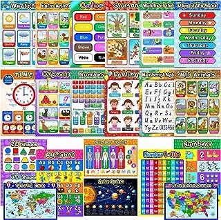 幼儿园教育海报学习海报幼儿园教室学习装饰,大号 40.64 x 27.94 厘米幼儿园家庭游戏室教学海报 Assorted Style 20 Pieces Outus-Preschool Posters-2