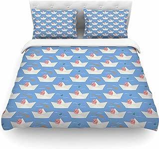 "KESS InHouse CB2021ACD02 Cristina Bianco 设计""纸猫图案""珊瑚蓝色中号棉被套,223.52 x 223.52 cm,"