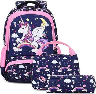 女孩上学背包3合1可爱轻便书包套装,幼儿园小孩子用 *蓝 大