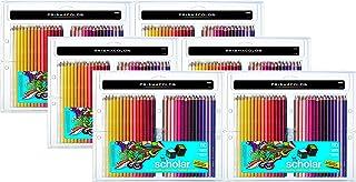 Prismacolor 92808HT Scholar 60 支彩色铅笔;柔软光滑的铅笔适合混合和着色;硬化核心抗破裂;丰富、鲜艳的颜料颜色 6-Packs of 60ea Pack / 360 Total Assorted Multicolor