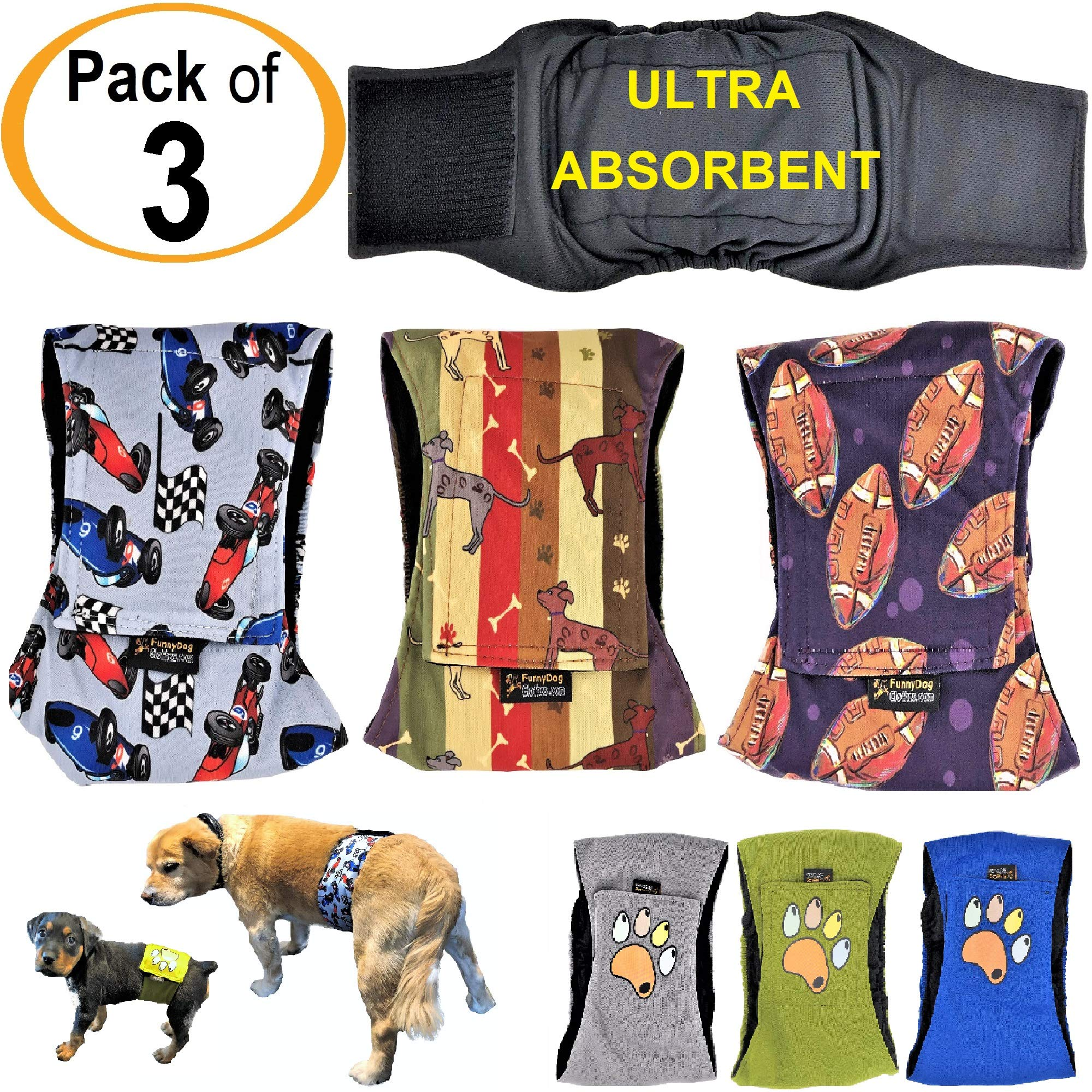 FunnyDogClothes 3 件装男式狗尿布 4 - 多层吸水垫防水防漏肚脐带可洗 图案 XL: Waist 20
