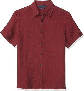 Perry Ellis 男式纯色亚麻短袖扣角领衬衫