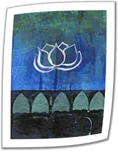 Art Wall Lotus Blossom 24 by 18-Inch Unwrapped Canvas Art by Elena Ray with 2-Inch Accent Border