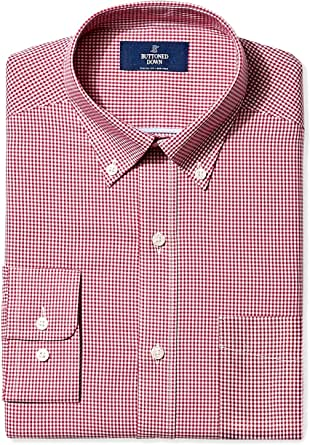 """Buttoned Down Men's Non-Iron Classic-Fit Button-Collar Dress Shirt Burgundy Small Gingham 17.5"""" Neck 37"""" Sleeve"""