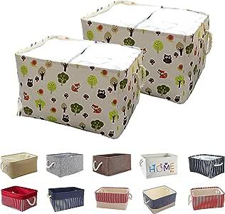 Queenie: 2 件装可折叠面料储物篮家庭收纳袋 卡通 30 x 20 x 13 cm (11.75 x 8 x 5 Inch)
