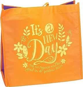 It's A New Day Rejoice Be Glad 12 x 12 英寸可重复使用环保手提包 橙色 4 Pack 26453