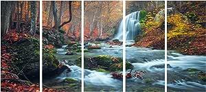 designart 5件夏季夜带星星 crimea 风景照片油画印刷品