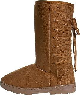Chatties Chatz 女式一脚蹬高11英寸(约27.94厘米)仿麂皮冬靴,带系带和流苏蝴蝶结黑色尺寸 6(干邑色,11)