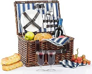 2 件野餐篮 | 手工野餐篮套装 | 陶瓷盘完整套件包括金属扁平餐具酒杯 S/P 调酒器和开瓶器 | 蓝色条纹图案衬里 | 野餐手提袋酒礼物