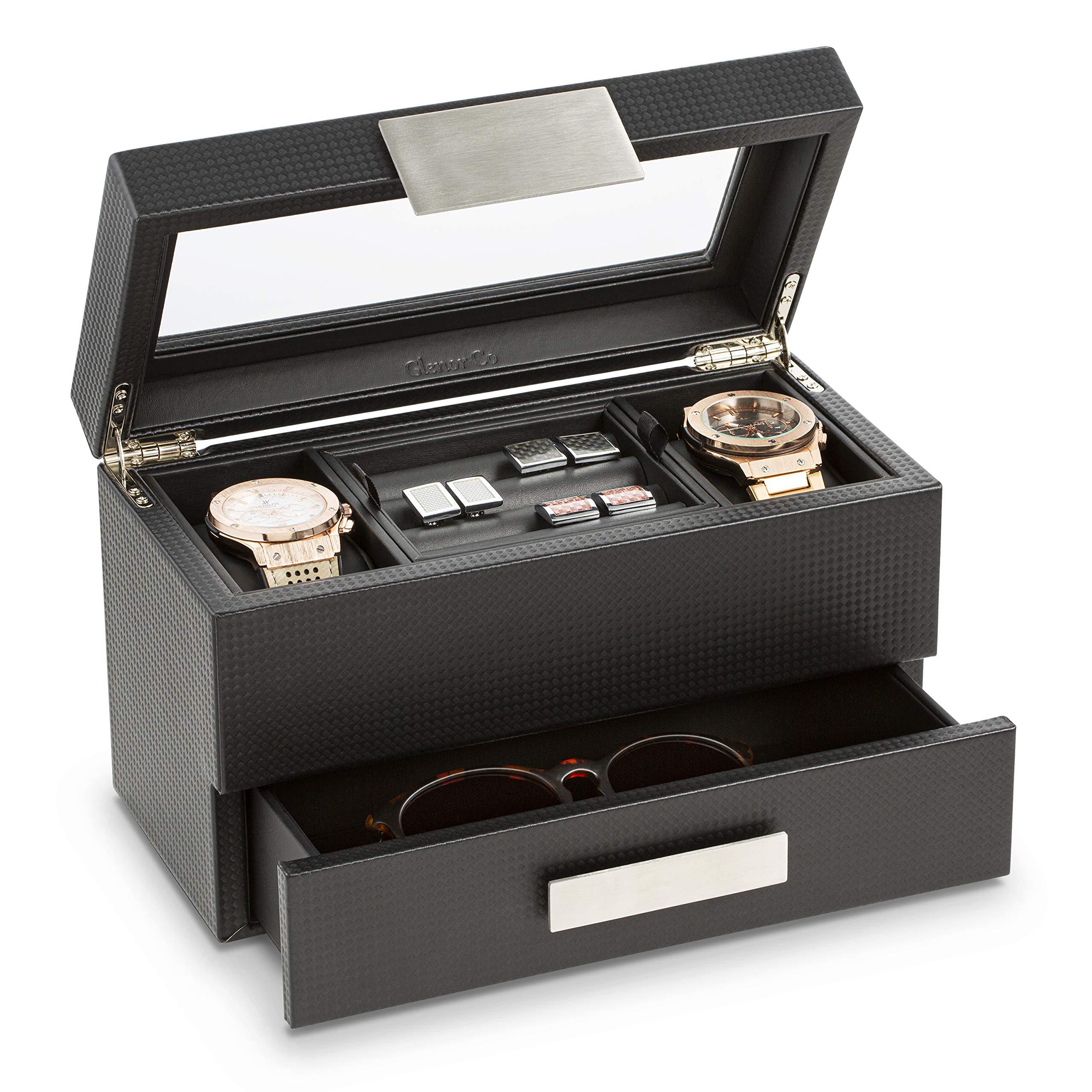 Glenor Co Valet 珠宝男士手表盒 - 现代碳纤维纹理收纳盒带玻璃顶部、抽屉和托盘 - 手表、袖扣、太阳镜、领带夹和配饰支架 - 小盒 - 黑色