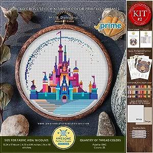 Disneyland #K118 十字绣绣套件   灰姑娘城堡十字绣图案   十字绣世界   针绣图案   针绣图案 Printed Schemes Kit #2 - PRIME