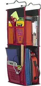LockerWorks 2 货架悬挂储物柜,55.88-60.96 厘米高,侧袋,挂钩、架子或衣柜杆悬架 黑色/红色 LW2-K