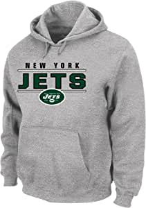 NFL 纽约喷气机球队中性款涤纶混色套头连帽衫,麻灰色,3X/高