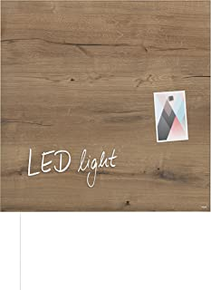 Sigel gl254优质玻璃 - 磁性黑板 artverum 天然 - 木质 , 木质外观 , 48 x 48厘米 – 其他 Designs mit LED Design Natural-Wood