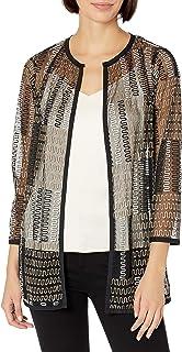 Kasper 女式珠宝领抽象刺绣网眼镶边夹克