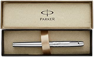 Parker 派克 IM Premium 镀铬凿刻钢笔,中号笔尖,蓝色墨水