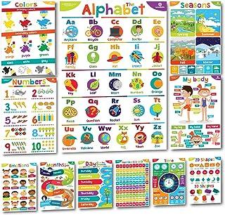 Sproutbrite 学龄前教育海报和教室装饰品 - 11 张早期学习图,适用于学前儿童、幼儿园、日托和家庭学校