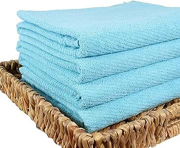 快干 * 纯棉毛巾 4 件套 | 无捻纱线用于柔软、毛绒和高吸收性 | 大号 蓝*