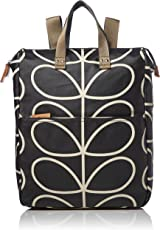 Orla Kiely 女式 大号线形花纹双肩包 0ETCLIN161-0040-00 黑色+乳白色 均码(亚马逊进口直采,英国品牌)