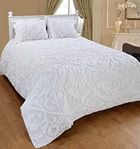 Saral Home Fashions Relief Chenille 床单枕套 白色 全部 SOS-1013ICN-FULL-WHITE