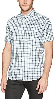 Nautica 男士防皺短袖格子前紐扣襯衫