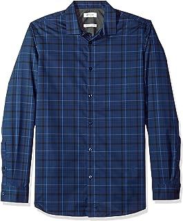 Calvin Klein 男式無限酷炫長袖紐扣襯衫 blown UP 格子
