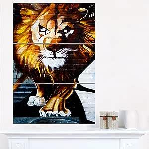 "Designart""Walking Lion Animal Street Art Print On"" 帆布 棕色/白色 28x36"" - 3 Panels PT6922-3PV"