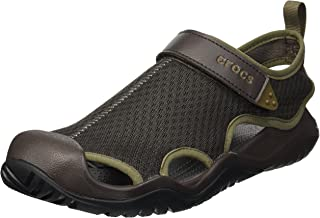 Crocs 男士 Swiftwater Mesh Deck 运动凉鞋