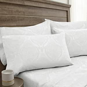 Elite Home Products 800 支提花花花花锦缎棉富赠品 6 件套床上用品 白色 King 800SSKG100JDBSS