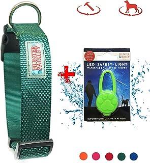 Hunter 佩斯利高级尼龙狗项圈附赠 LED 狗项圈灯。 N Go 搭扣。 可调节耐用。 适用于小型、中型大型犬。 暗*(Hunter) S