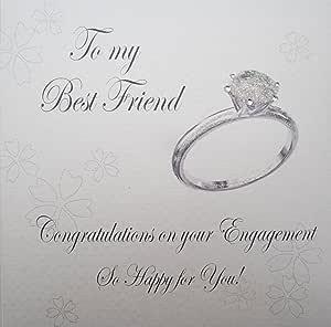 白色棉卡片 手工制作 My Best Friend 祝贺您订婚,非常快乐! 闪亮订婚戒指 卡,白色