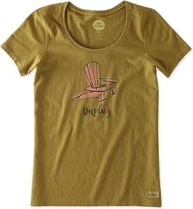 Life is good 女式 Crusher 低圆领 Unplug Adirondack T 恤,林地绿 小号 绿色 46110