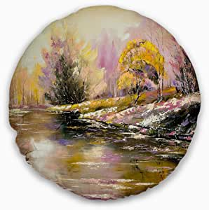 Designart CU6333-16-16 River s Farwell to Autumn 抱枕 High Quality Pillow Insert + Cushion Cover Printed on Both Side 20 Inches Round CU6333-20-20-C