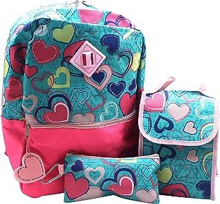 Forest & 12 岁儿童 5 件套彩色心形背包,可爱女孩书包,带钥匙链,午餐袋,登山扣,铅笔盒,轻便耐用,易清洁的儿童书包