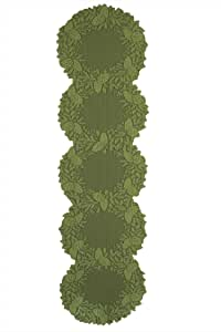 """Heritage Lace Highland Pine Mantle Table Runner, 20"""" by 76"""", Aspen Green"""