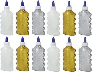 Emraw 明亮铱味,银色,金色可水洗无酸液体闪光胶,6.76 盎司(200 毫升)瓶装,适合学校项目、艺术、工艺品、书套和装饰品(12 件装) 2875