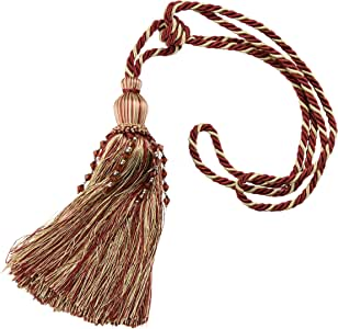 Kenney Manufacturing Company Burgundy/Gold Large Tassel Rope Tieback, 25-Inch