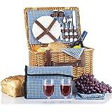 野餐篮套装 - 2 人野餐篮套装 - 防水野餐毯陶瓷盘金属扁平餐具酒杯 S/P 摇瓶开瓶器 蓝色格纹 野餐套装 | 野餐手提袋