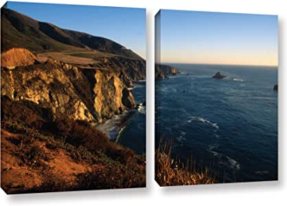 """ArtWall Kathy Yates 'Golden Glow On Big Sur' 2 Piece Gallery-Wrapped Canvas Artwork, 24 by 36"""""""