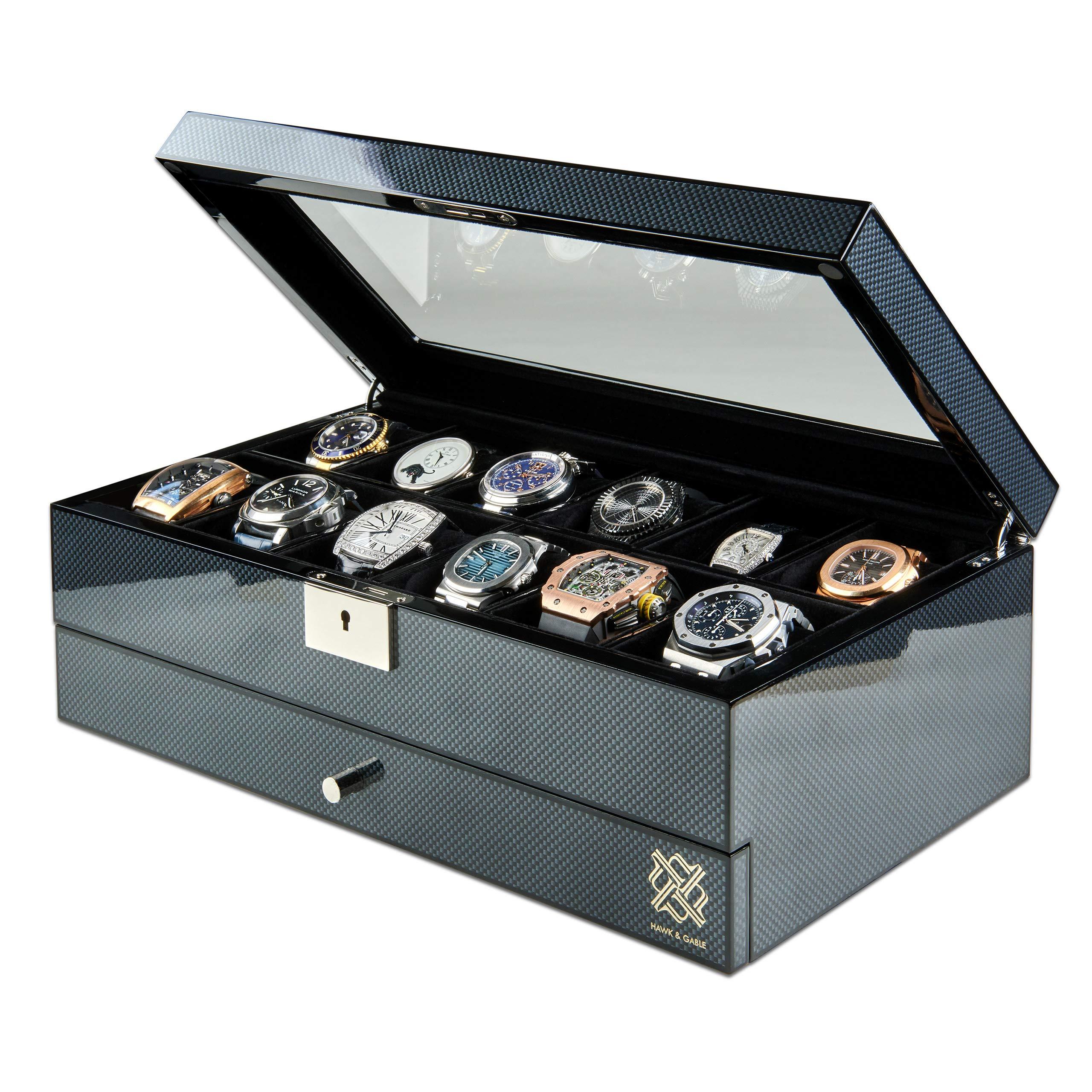 HAWK & GABLE Specter Valet 优质 12 插槽手表盒收纳盒,带锁和玻璃显示屏的手表盒  用于珠宝和配饰的抽屉  男式手表壳  碳纤维表面