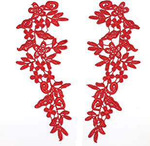 PEPPERLONELY 1 对蕾丝花贴布绣工艺装饰,24.5 X 8.5 厘米 11#. Red
