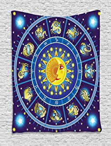 Ambesonne Astrology Decorations Collection, Horoscope Circle around Sun Birth Zodiac Constellation Fortune Home, Bedroom Living Room Dorm Wall Hanging Tapestry, Yellow Orange Dark Blue
