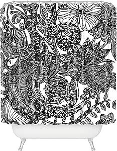 Deny Designs Valentina Ramos Domingo 浴帘,177.8 x 228.6 厘米 花朵中的鸟 黑色 白色 标准 13499-shocur